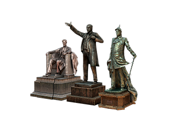 Heroic leader statue<br>and silver nickname